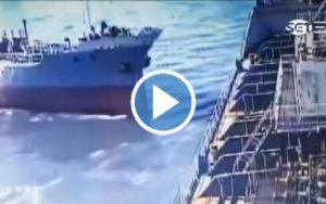 Watch: Tanker Crashes Into Cargo Ship