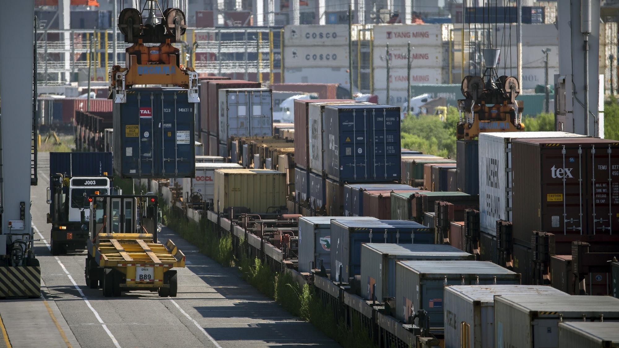 Garden City Terminal cargo import and export Georgia Ports Authority, Monday, July 11, 2016, at the Garden City Terminal near Savannah, Ga.  (GPA Photo/Stephen B. Morton)