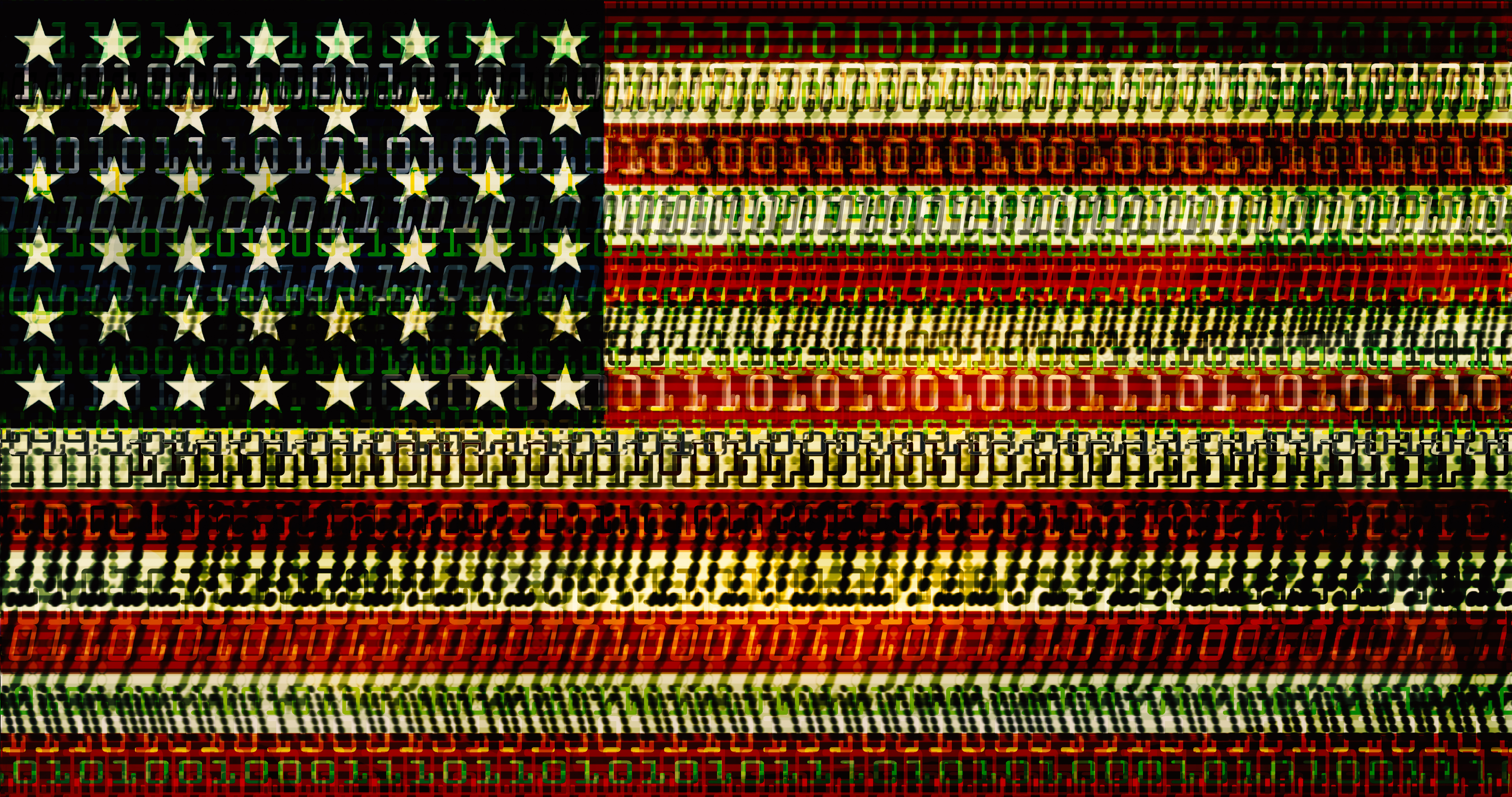 US flag showing streams of data: cyber crime, national security, trade, cultural exchange, etc