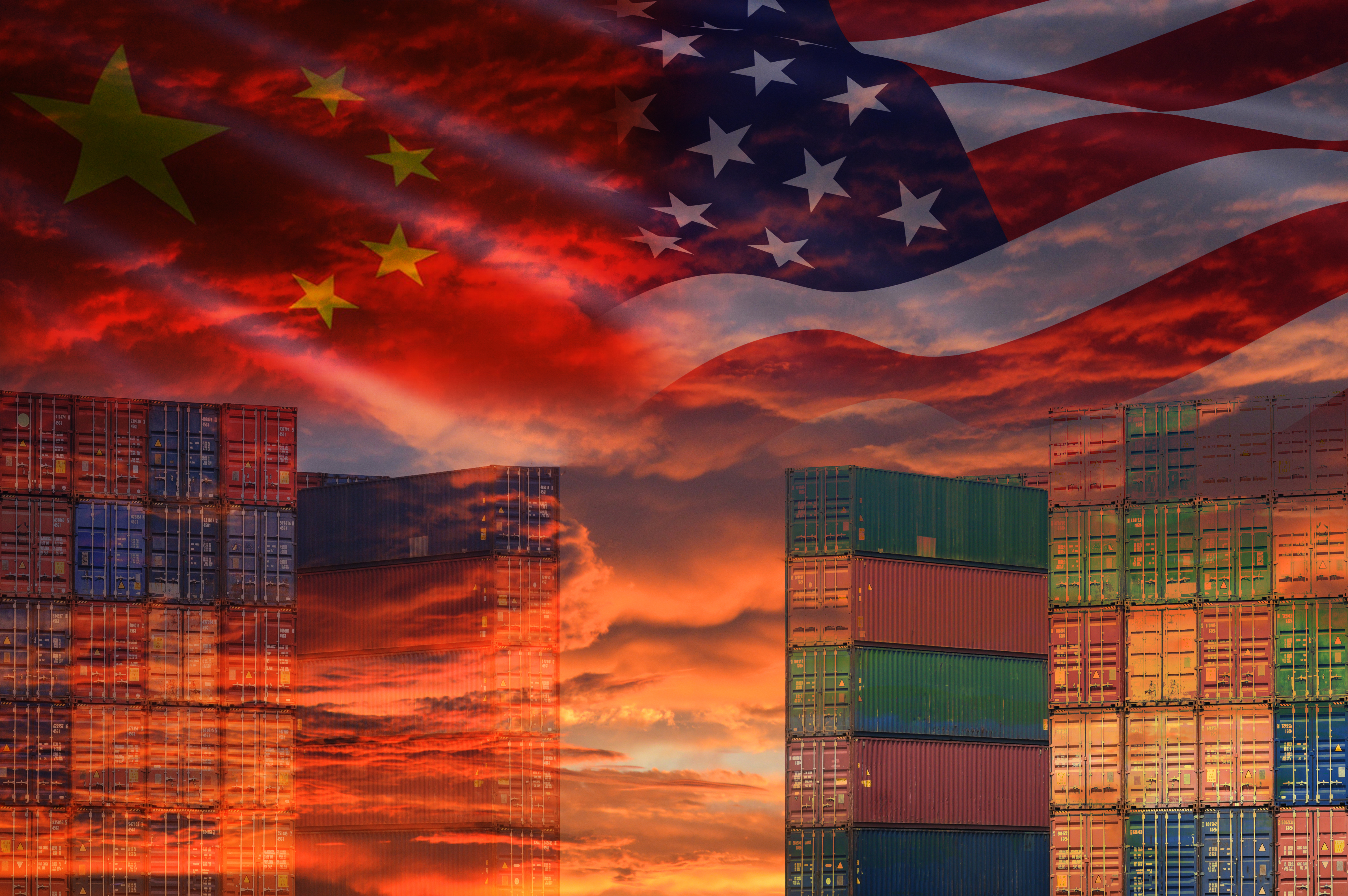 USA and China trade war economy conflict tax business finance money / United States raised taxes of goods from China on Container ship in export and import logistics background