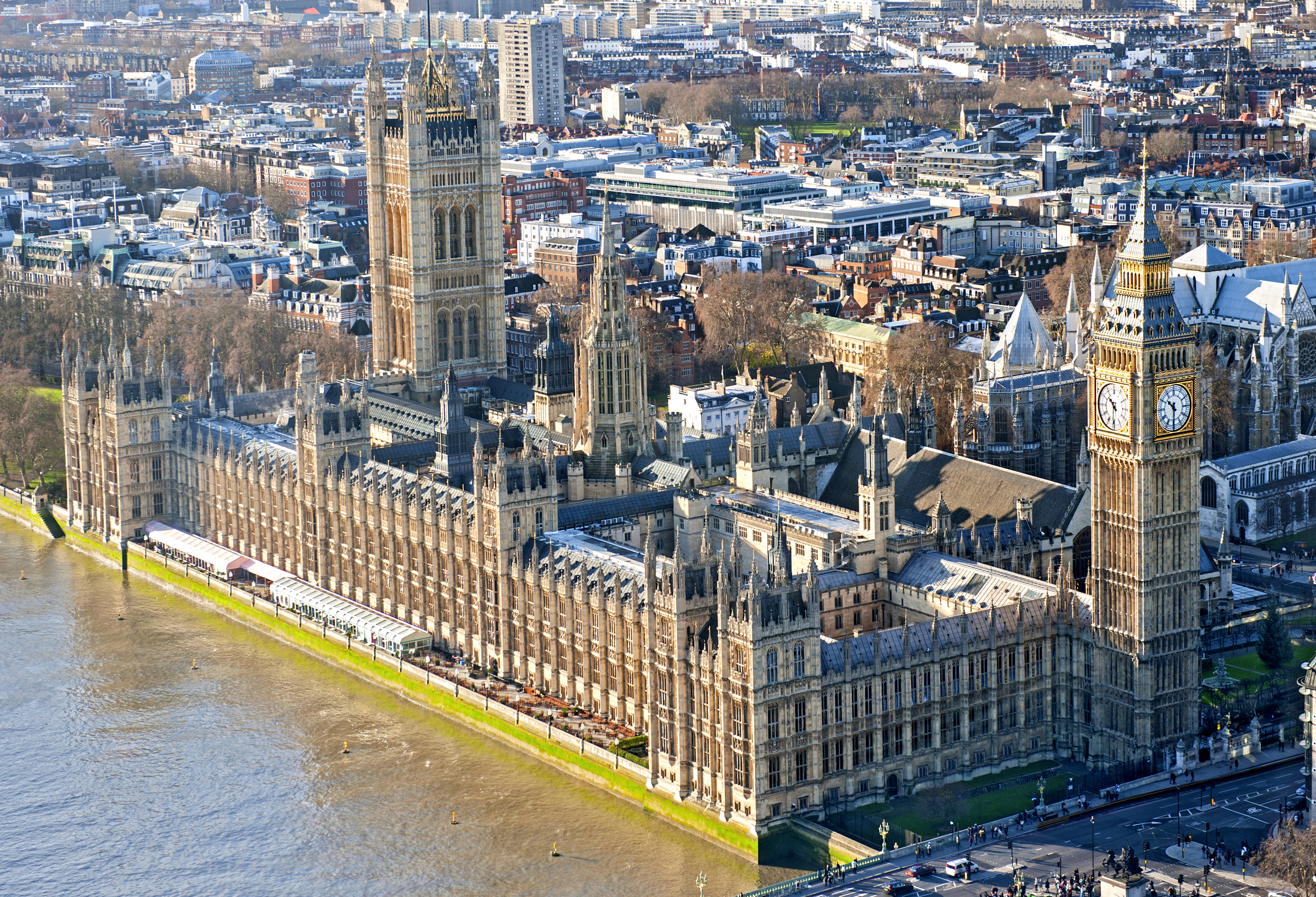 Aerial view of Westminster Palace