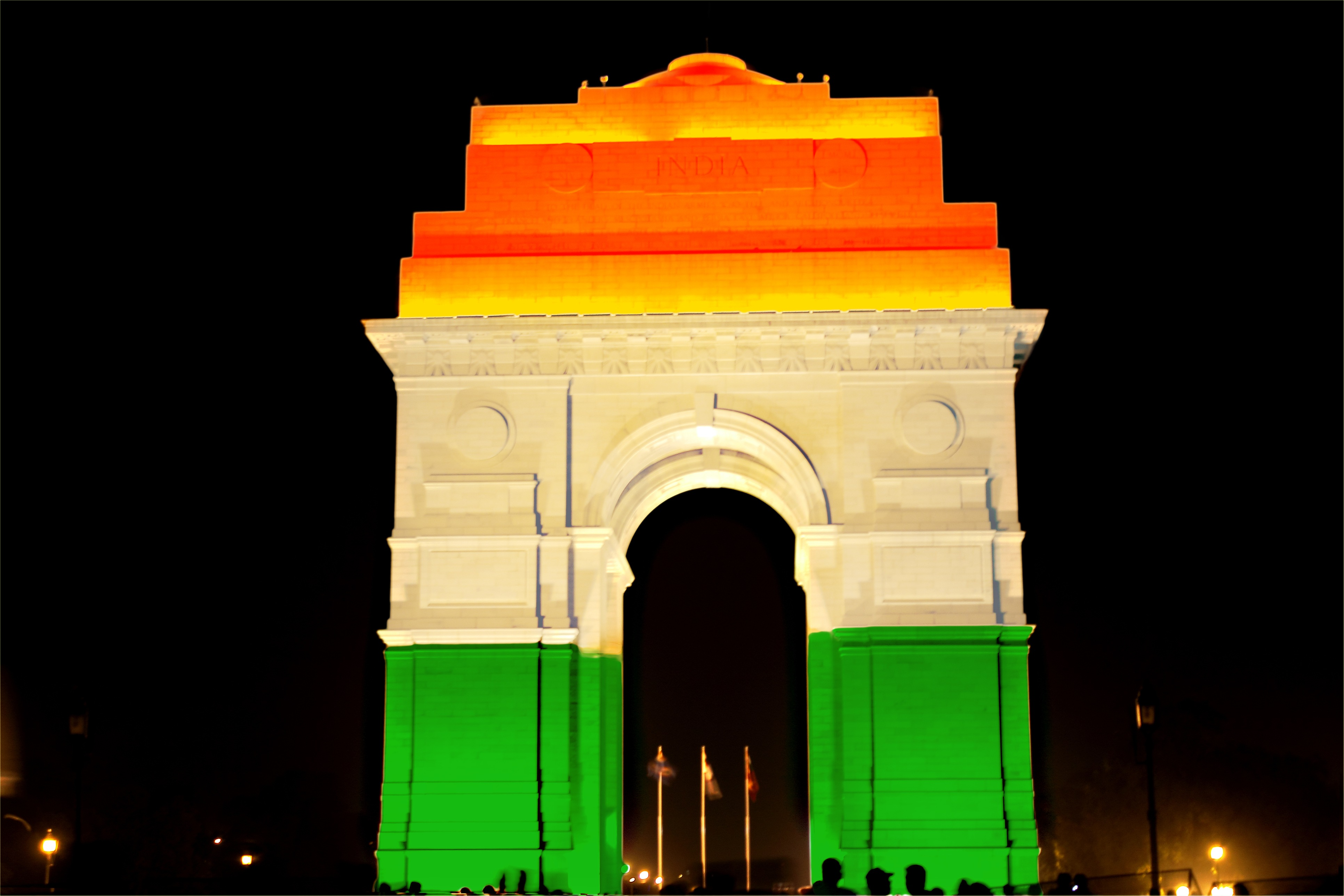 India Gate lit with tricolor in New Delhi, India