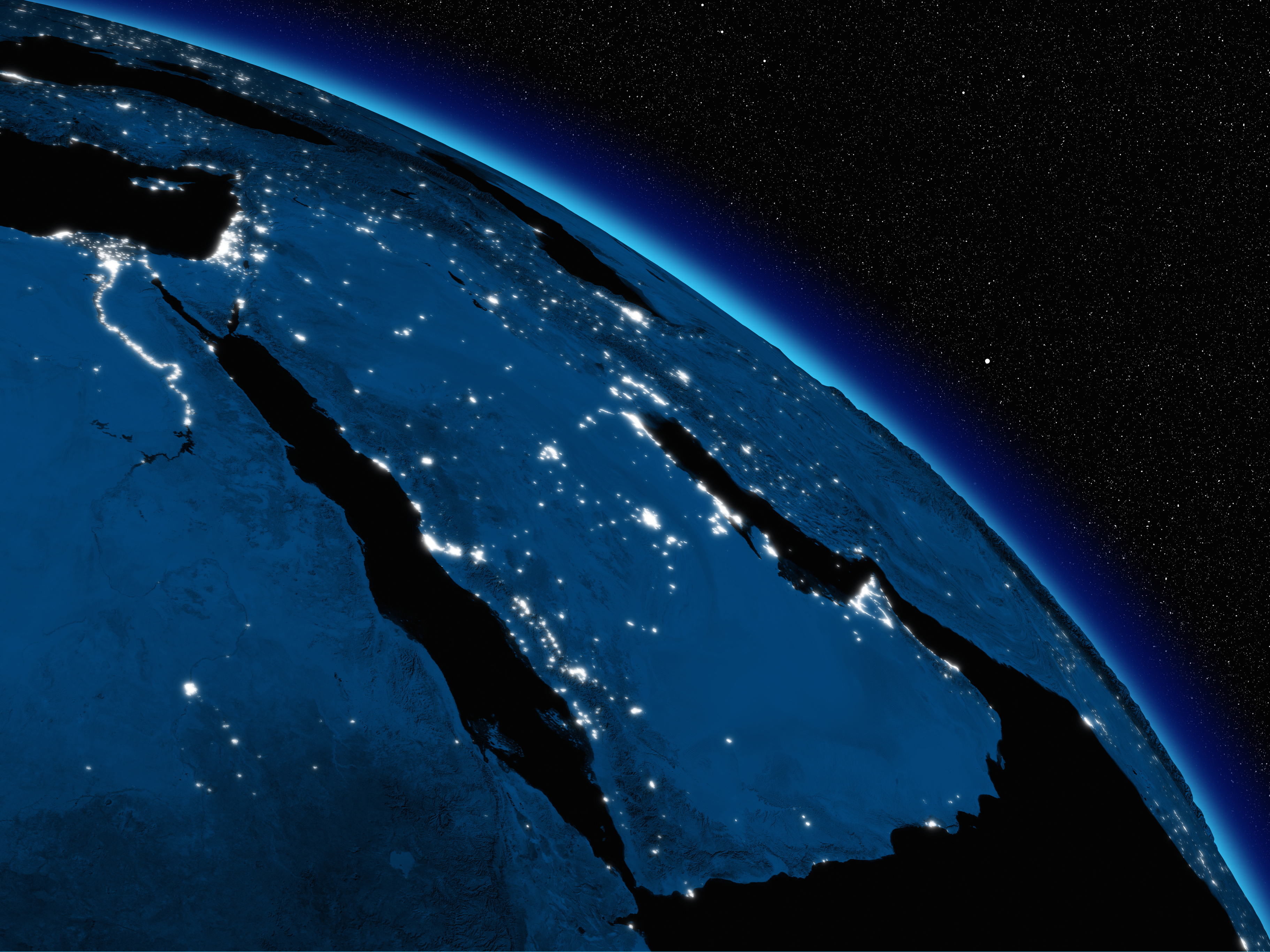 Arabian peninsula at night on planet Earth viewed from space. Highly detailed planet surface with city lights. Elements of this image furnished by NASA.