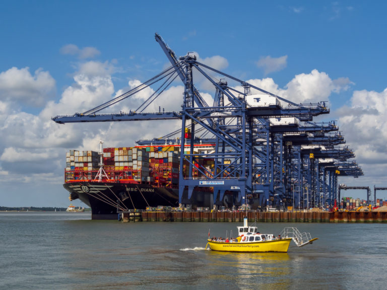 A massive container cargo ship, the MSC Diana, unloading at Port of Felixstowe in Suffolk, Eastern England, with the tiny Harwich Harbour Ferry with passengers aboard who have just embarked from the beach. The ferry is moving backwards from the shore in order to turn around safely.