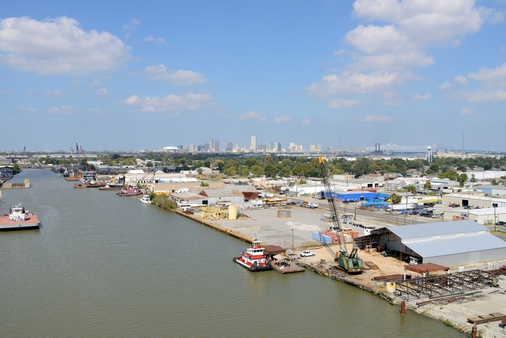 New Orleans, Louisiana, USA - October 27, 2014: The panoramic view of the October skyline of New Orleans, seen from U.S. Highway-90 on the south side of the city.