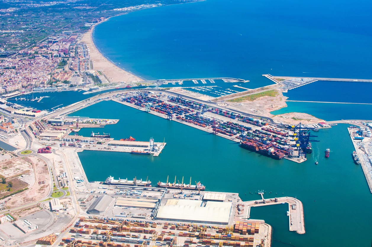 View above of Valencia port