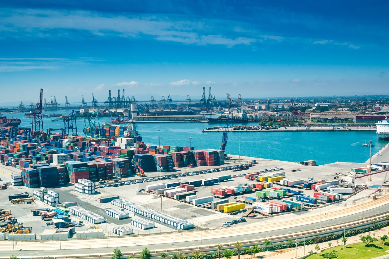 VALENCIA, SPAIN- JULY 04, 2015: View above on sea port in Valencia, Spain