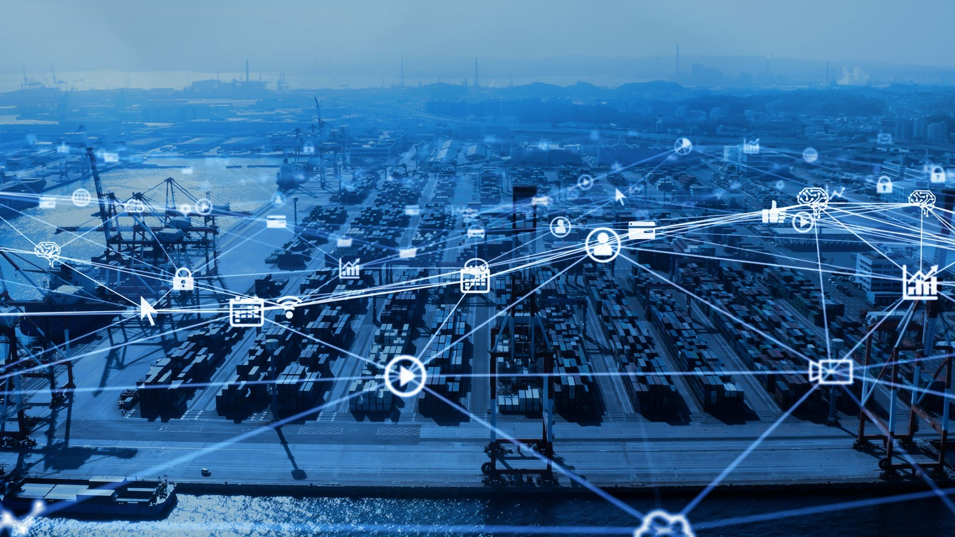 Industrial technology concept. Container terminal. Logistics. Communication network. INDUSTRY 4.0. Factory automation.