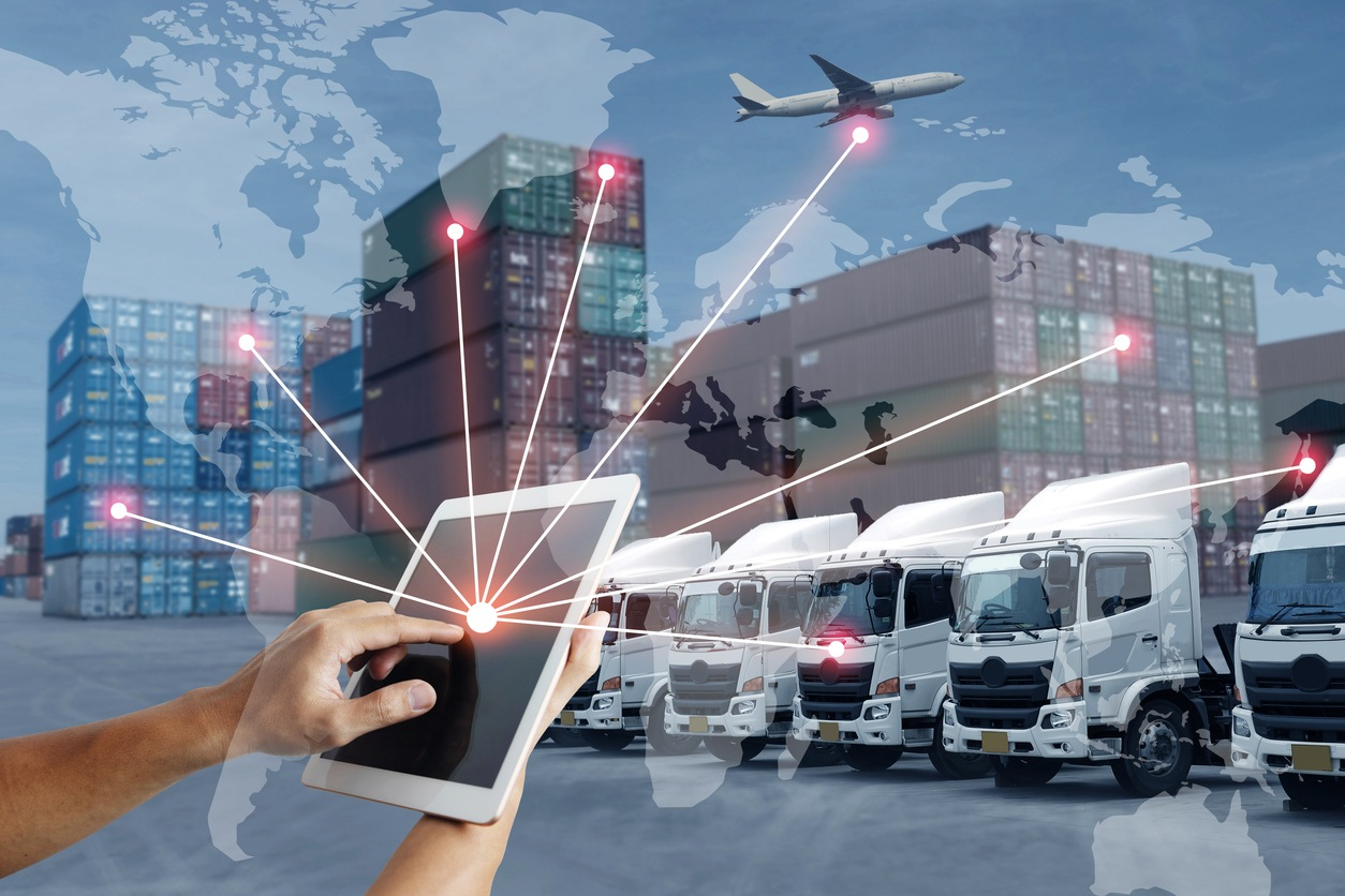 Technology direct with logistics transportation with AI people and worldwide concept.