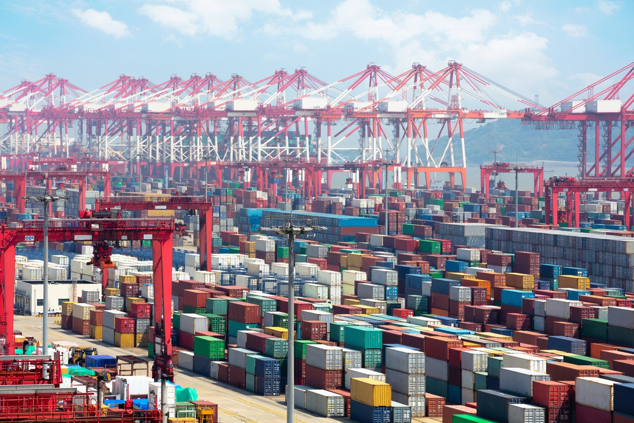 Closeup Industrial port with containers, Shanghai Yangshan deepwater port is a deep water port for container ships in Hangzhou Bay south of Shanghai, China.
