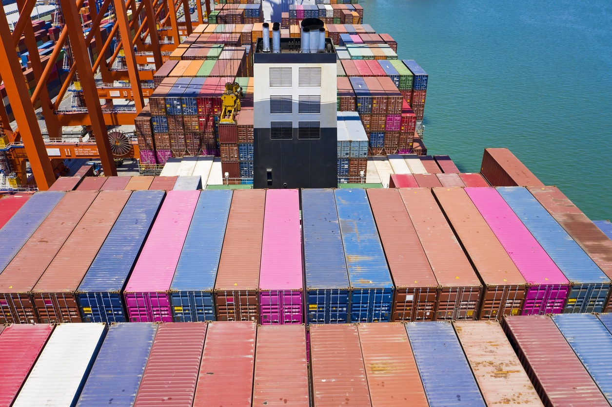 Aerial view of Container Ship at Port.
