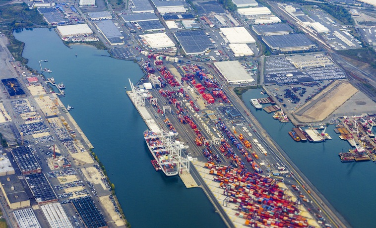 Aerial view of the New Jersey commercial port - docks and containers