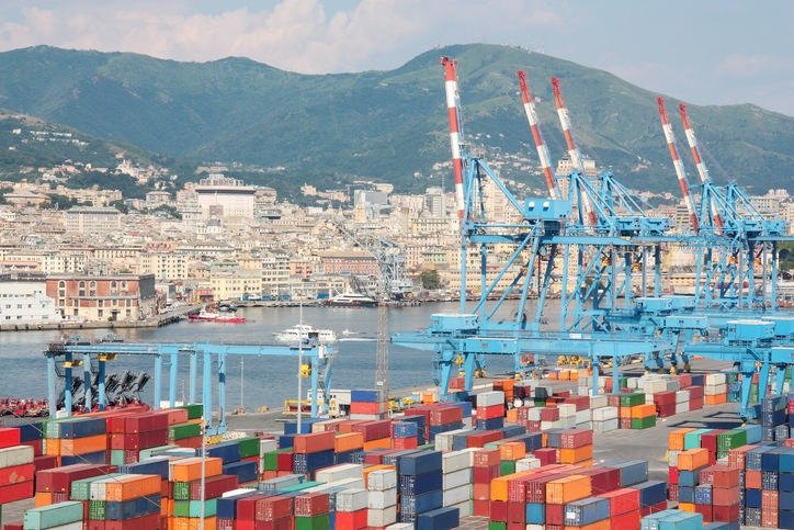 Container Terminal in the port of Genoa Italy