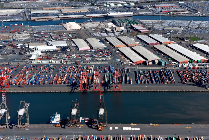 aerial view of containers on dock