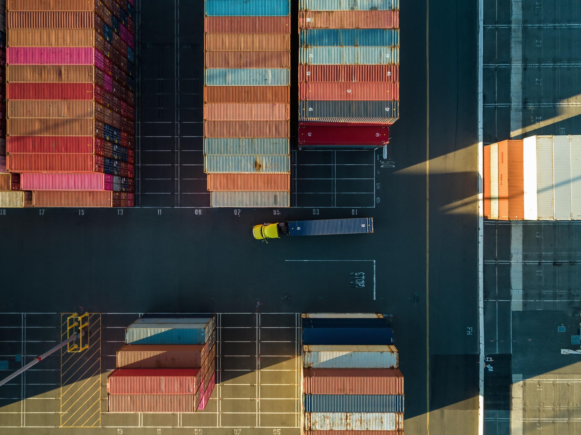Aerial shot of an intermodal shipping yard in the Port of Long Beach, California.