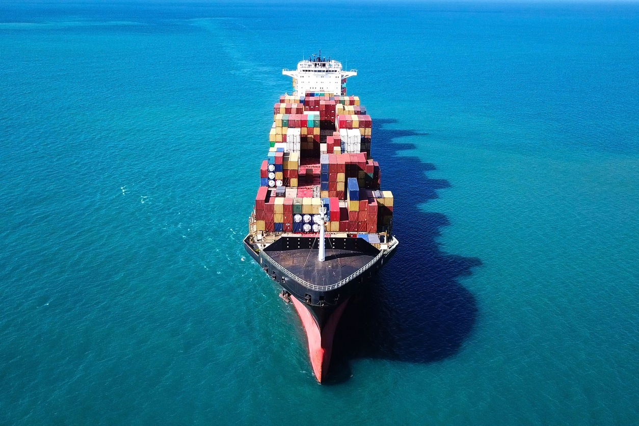 Large container ship at sea - Top down Aerial ImageLarge container ship at sea - Top down Aerial Image