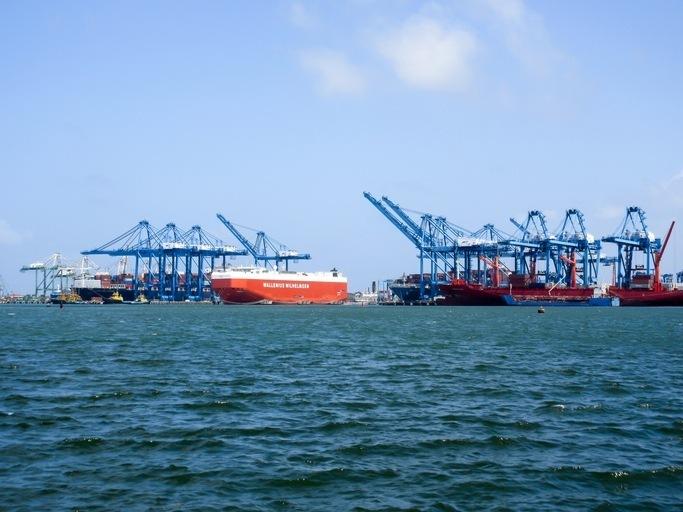 Colon, Panama - Jan 8, 2017: A view of the cranes and a roro ship in the Manzanillo International Terminal in Colon