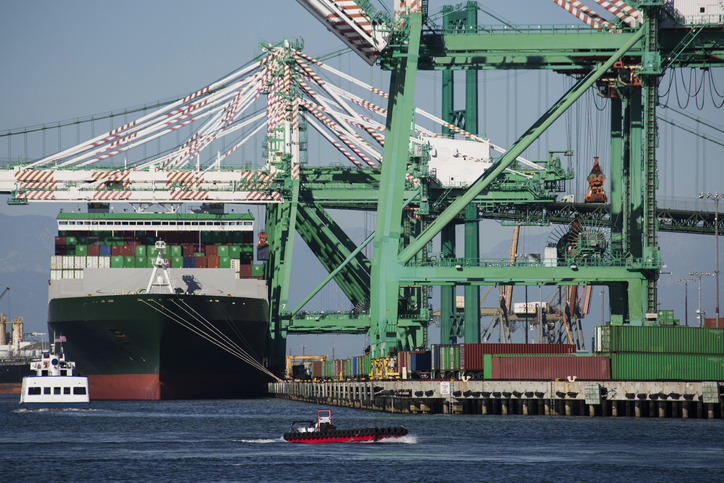 A cargo ship being unloaded at the Port of Los Angeles.