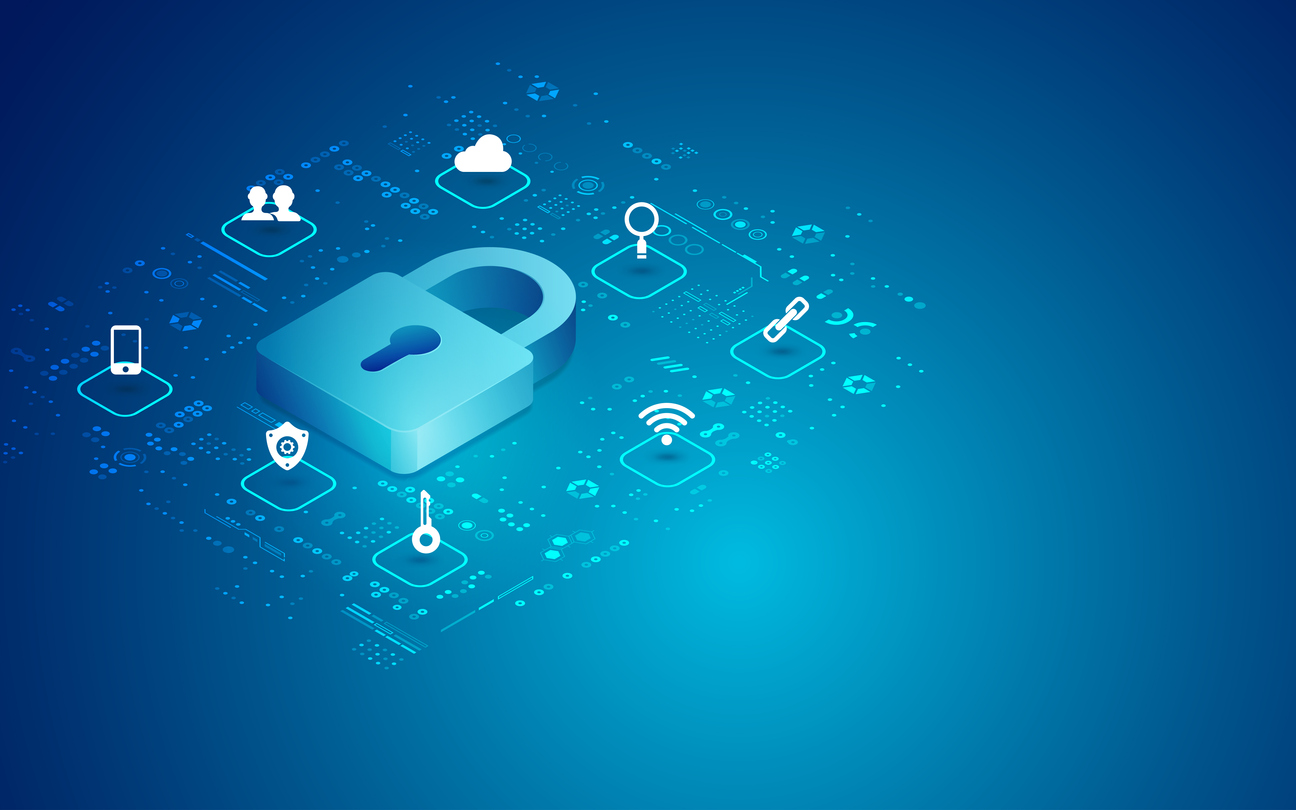 concept of cyber security, digital padlock with technology icons