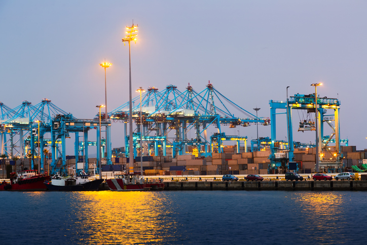Early morning view of  Port of Algeciras - one of  largest ports in Europe. Spain