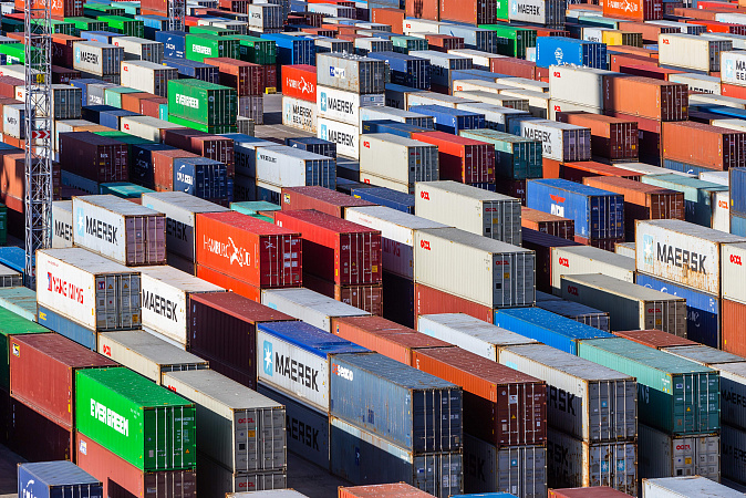 Containers stacked in rows