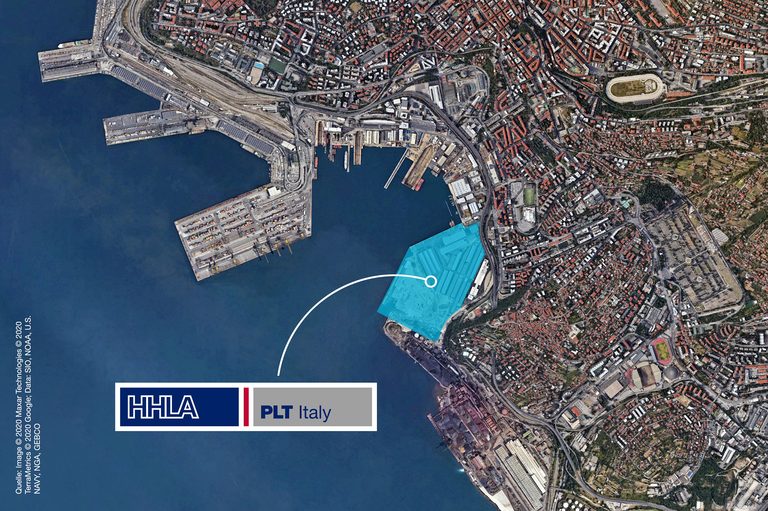 Map of the area of the Port of Triest and the new HHLA PLT Italy terminal