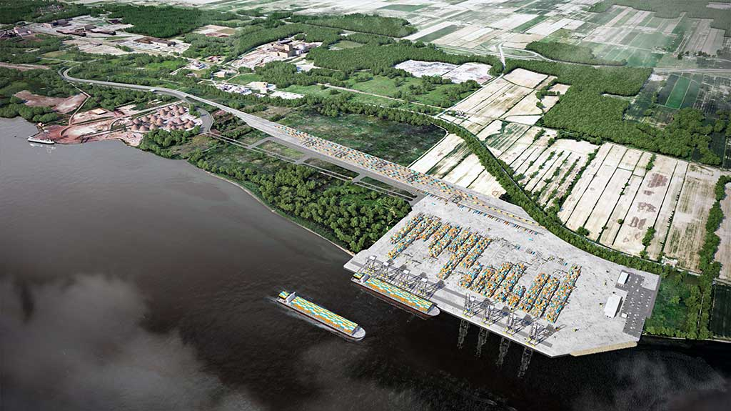 Graphic rendering of Contrecoeur container terminal
