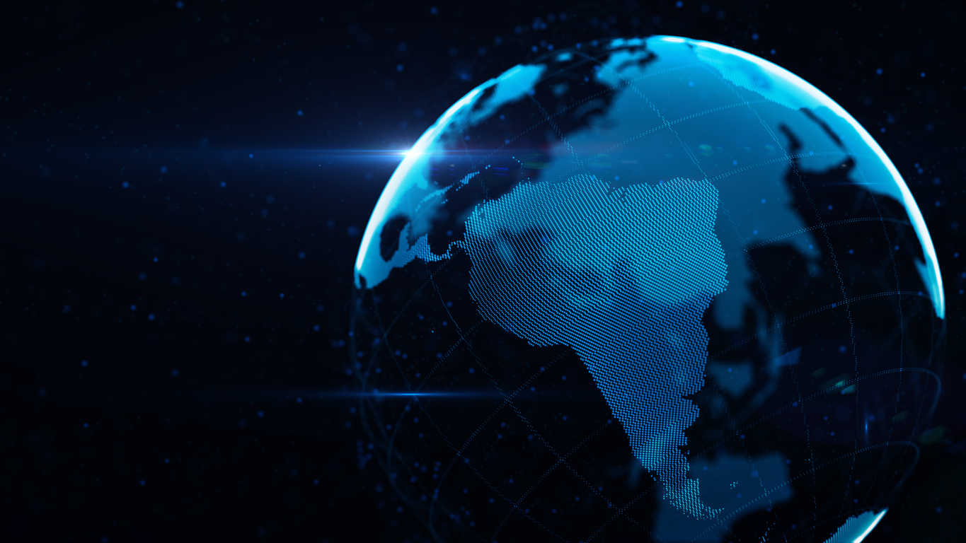 Planet Earth Made of Blue Glowing Dots Over Black Background: South America is in focus