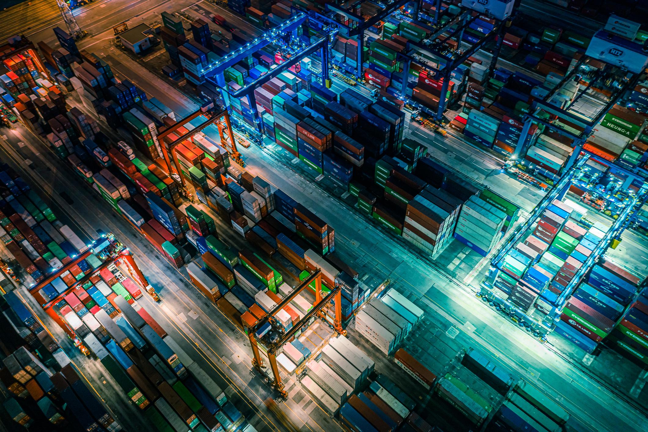 Container Cargo freight ship Terminal in Hong kong, China