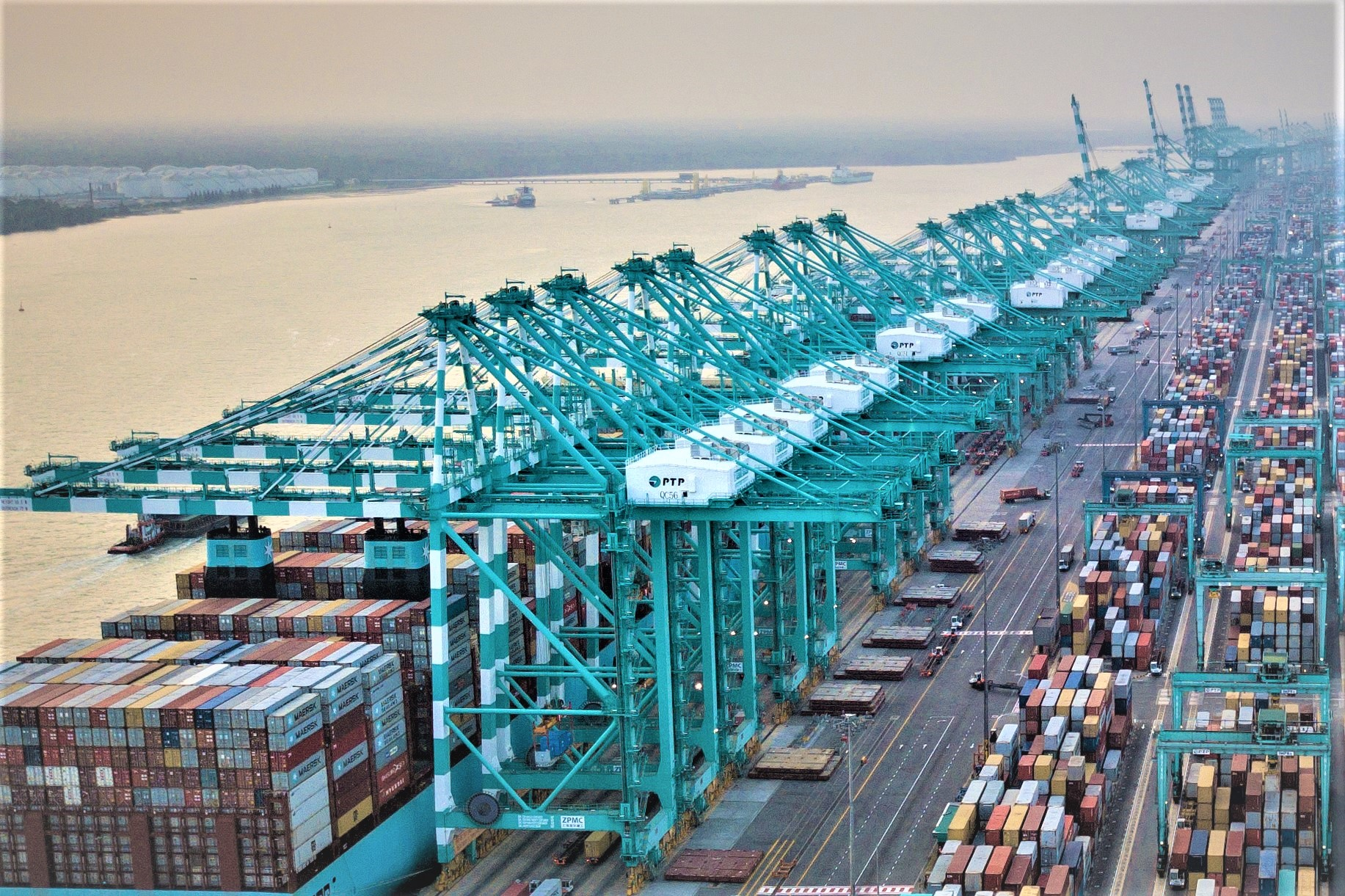 View of STS cranes lined up at hte Port of Tanjung Pelepas