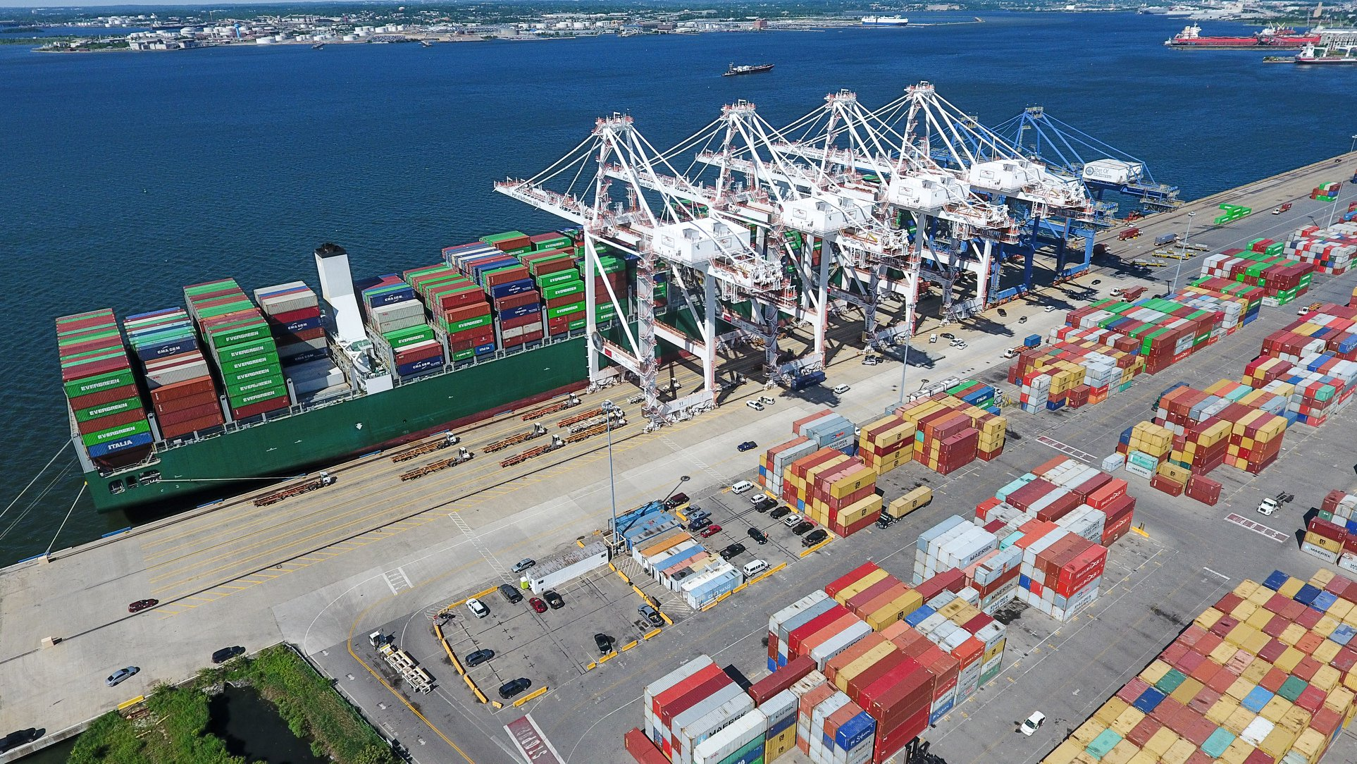 Vessel and containers at the Ports America Chesapeake