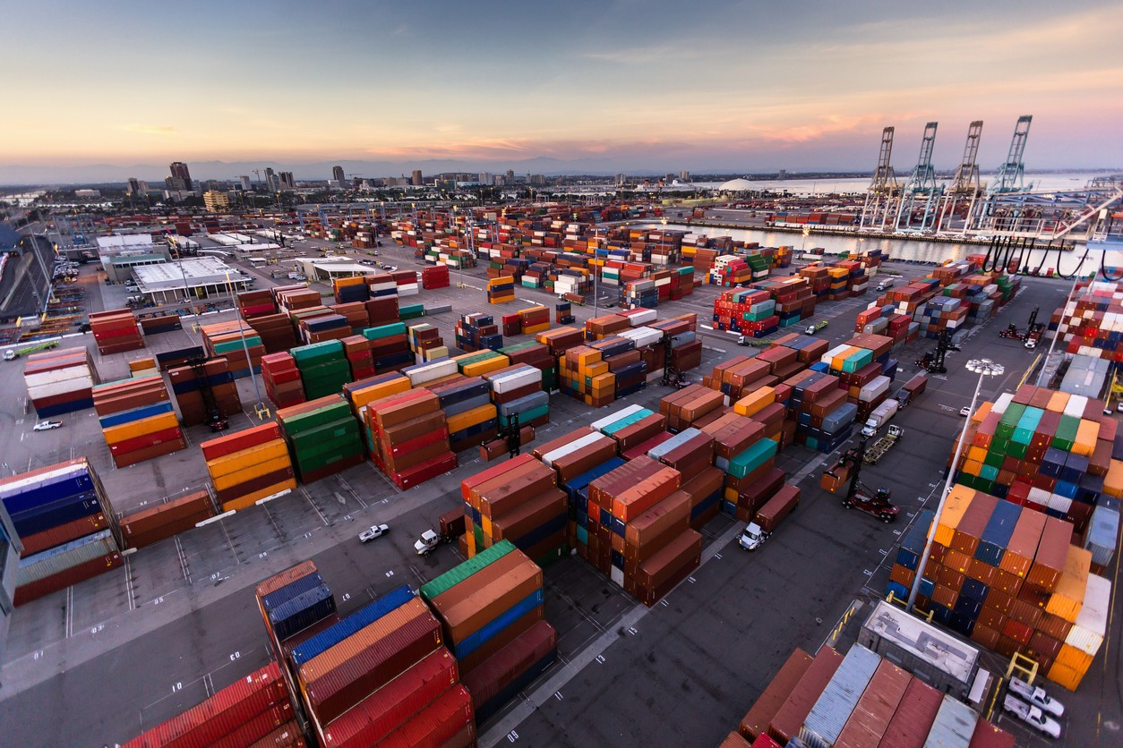 Vast Container Terminal in the Port of Long Beach at Sunset