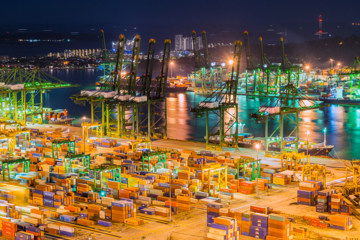 View of the port of singapore