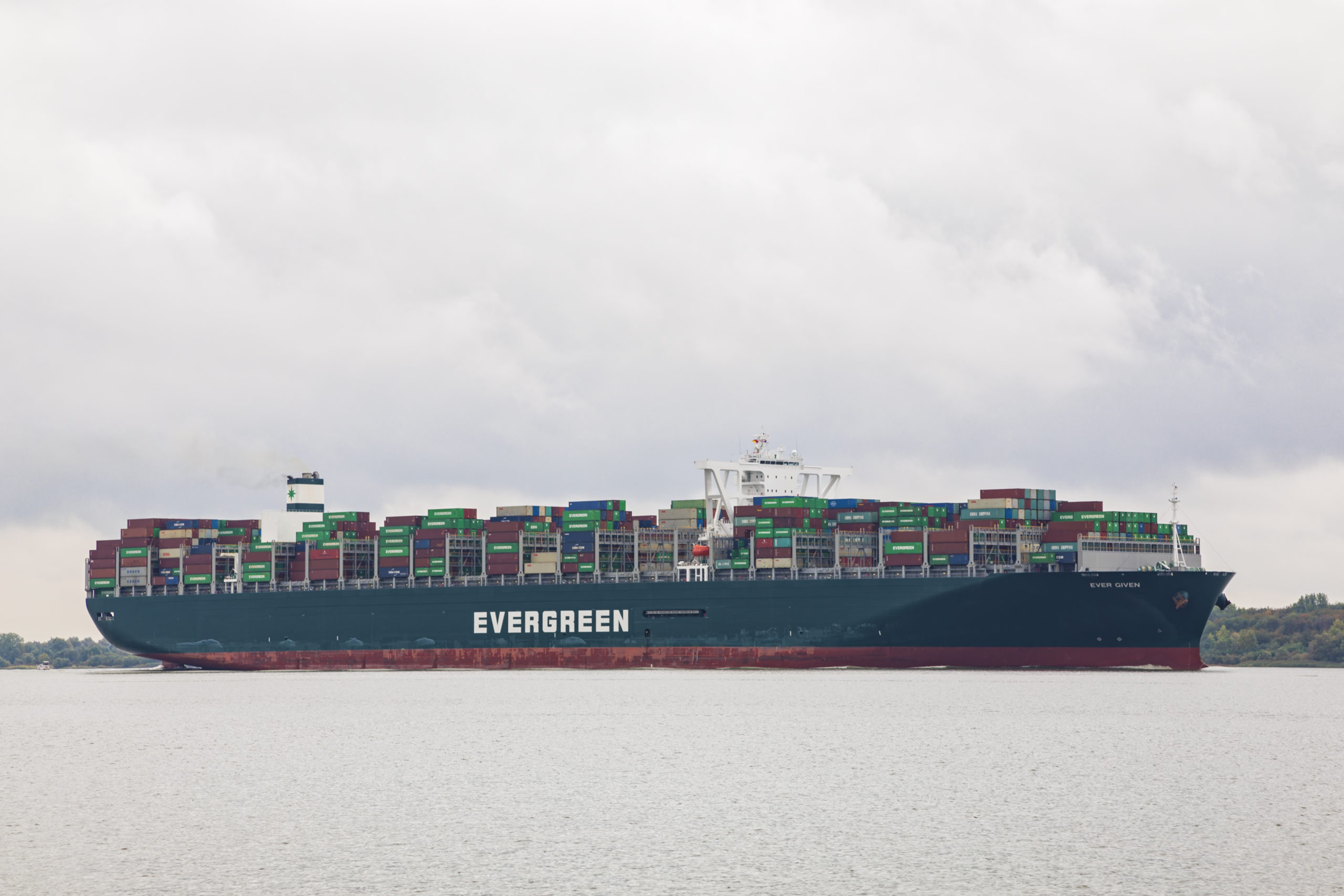 Container ship EVER GIVEN on Elbe river