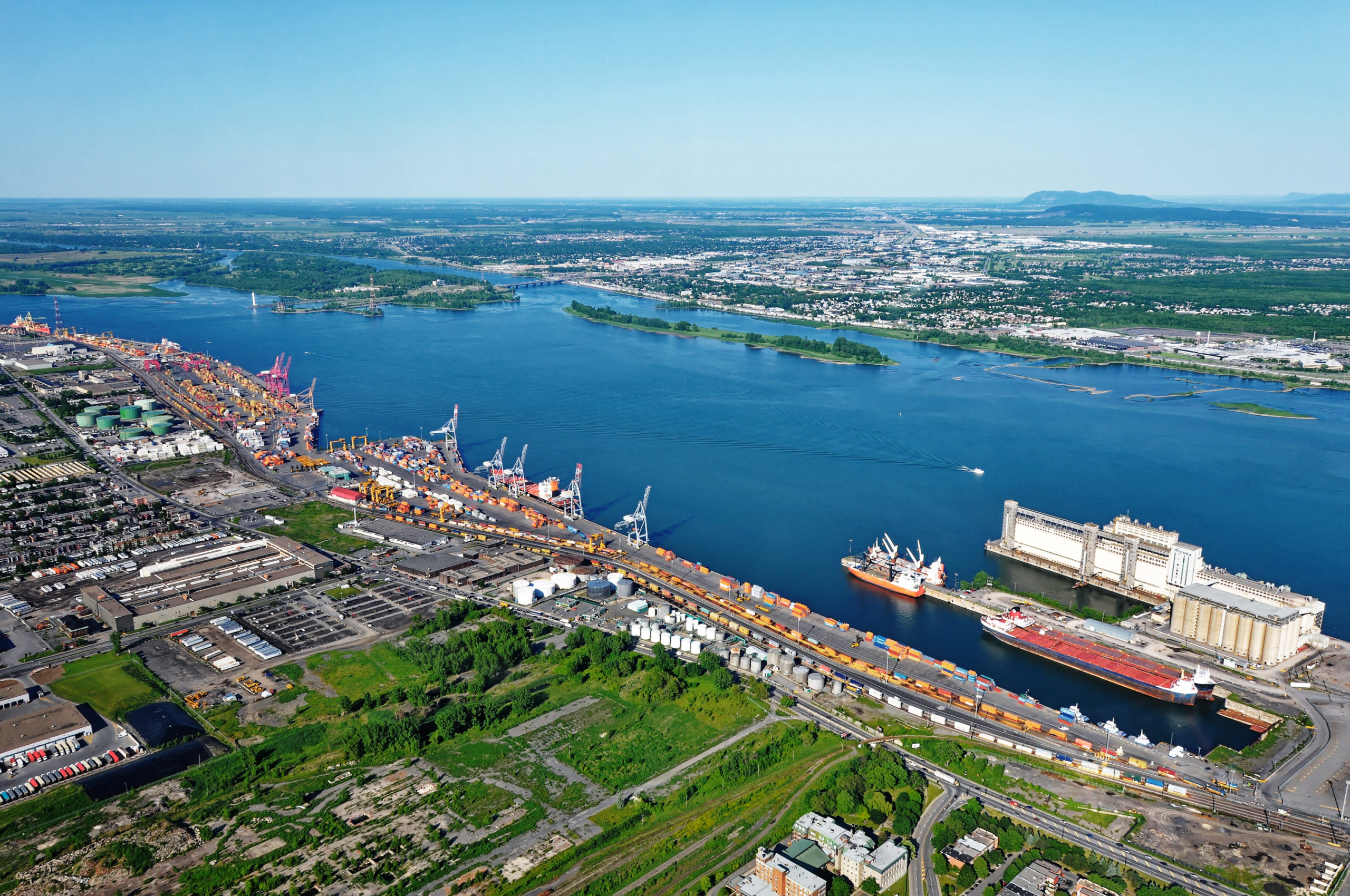 Aerial view of the eastern section of the Port of Montreal