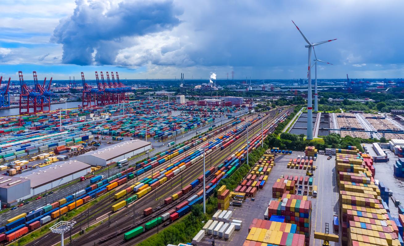 Panorama aerial view harbor Hamburg container