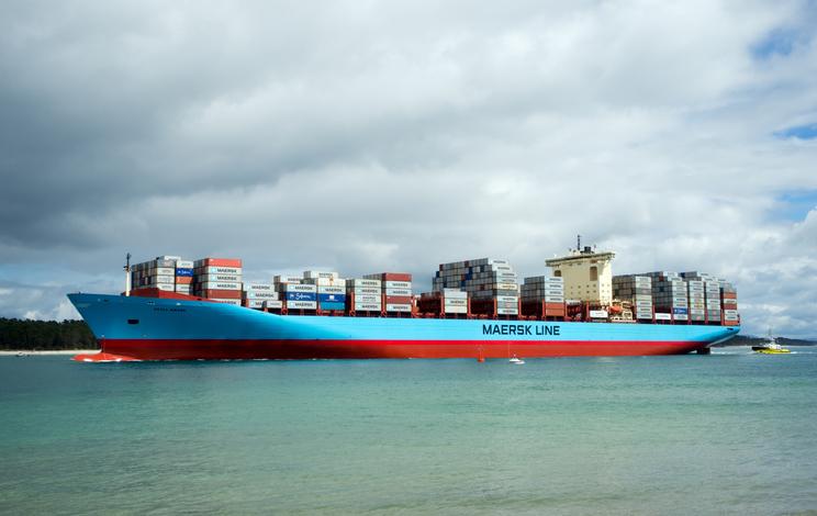 Mount Maunganui, Tauranga, New Zealand - October 4, 2016: Huge cargo ship Maersk Line in Pilot bay, Mount Maunganui, New Zealand