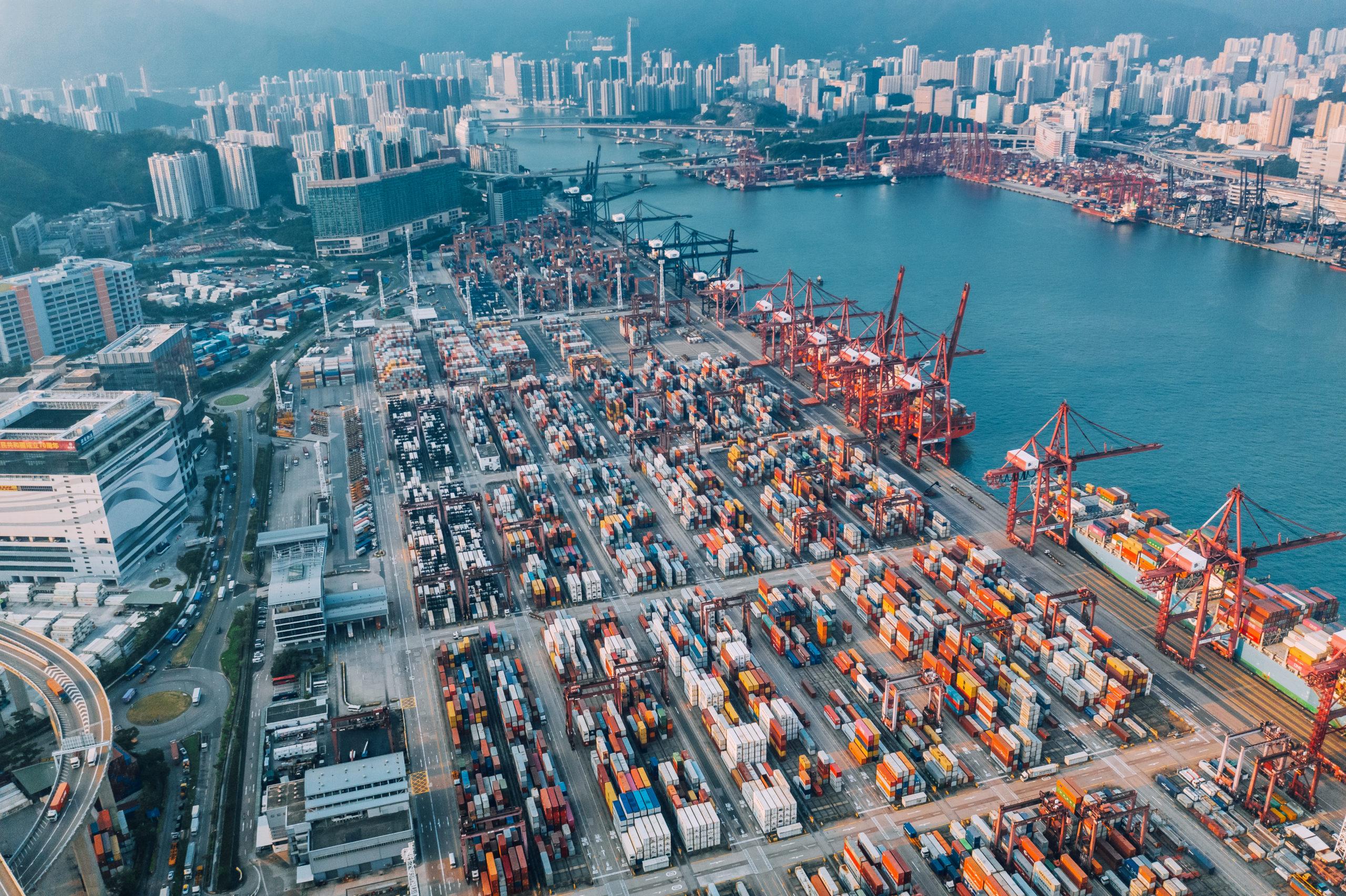 Aerial View of container ship terminal in Hong Kong, China Hongkong, China