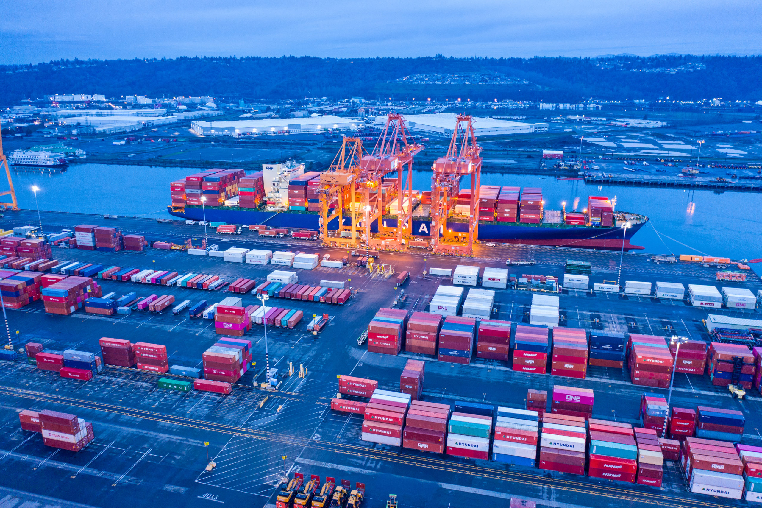Tacoma, United States - December 28, 2019: Ship being loaded at the Port of Tacoma in the Pacific Northwest Washington.