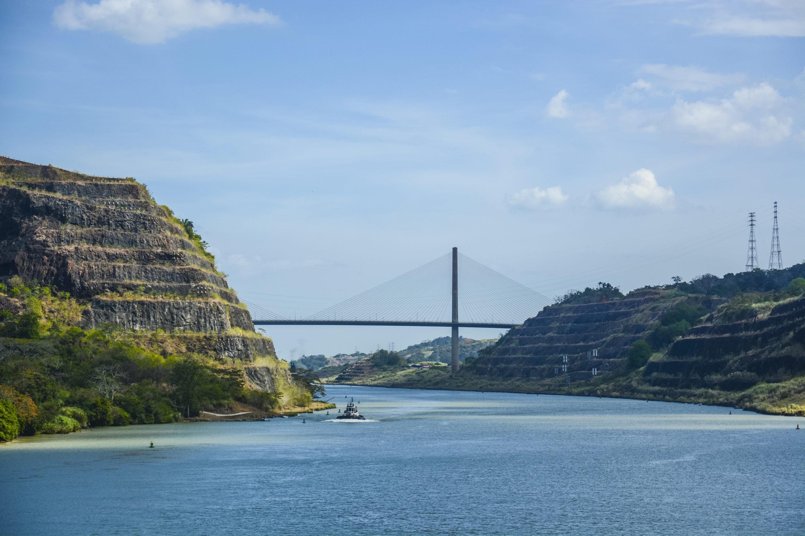 Looking towards Centennial Bridge from Culebra Cut, heading towards the Pacific ocean from the Atlantic ocean via Panama Canal.