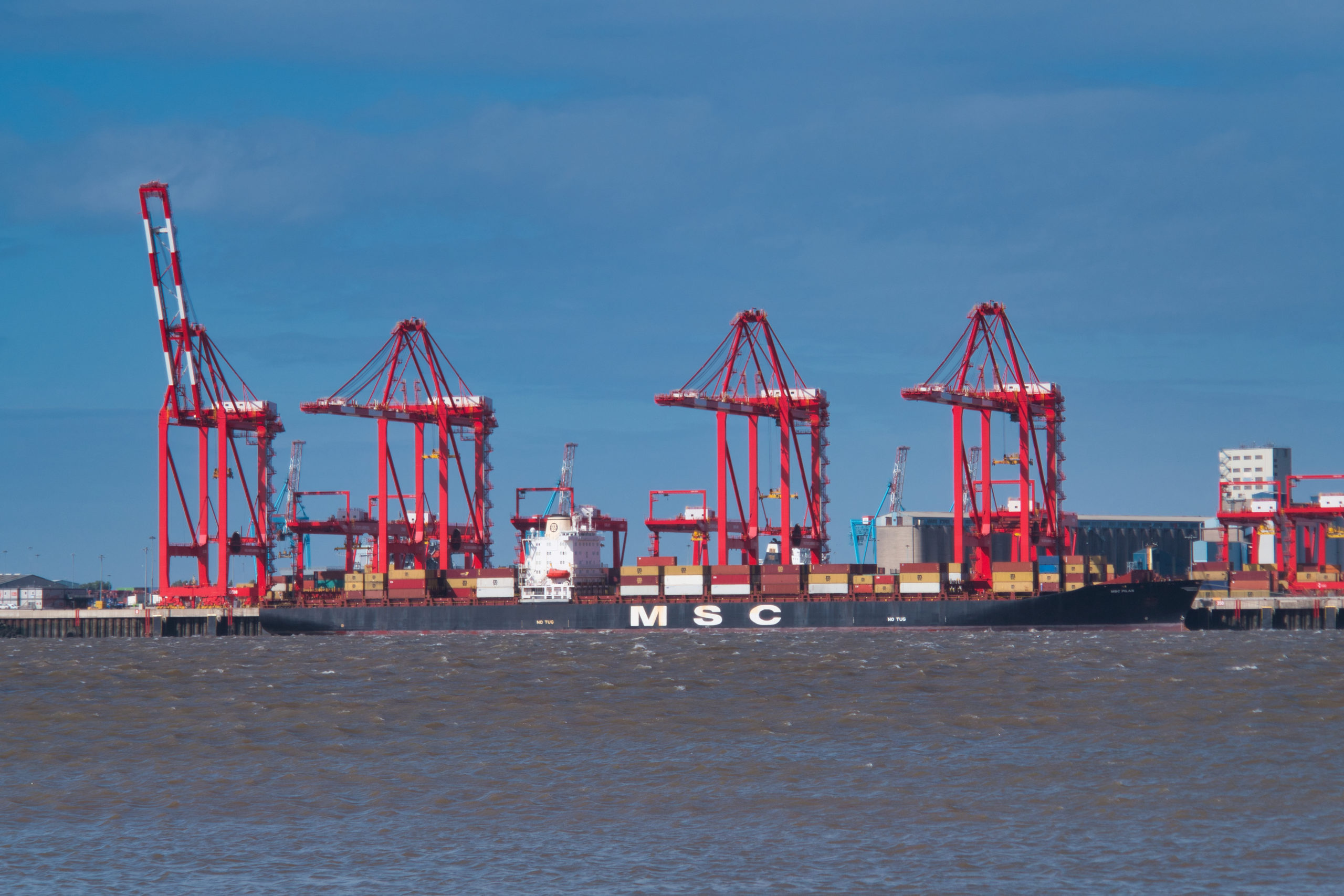 Panama registered container ship MSC Pilar at berth at Liverpool2 - a £400 million deep-water container terminal at the Port of Liverpool, taken on a clear, sunny day