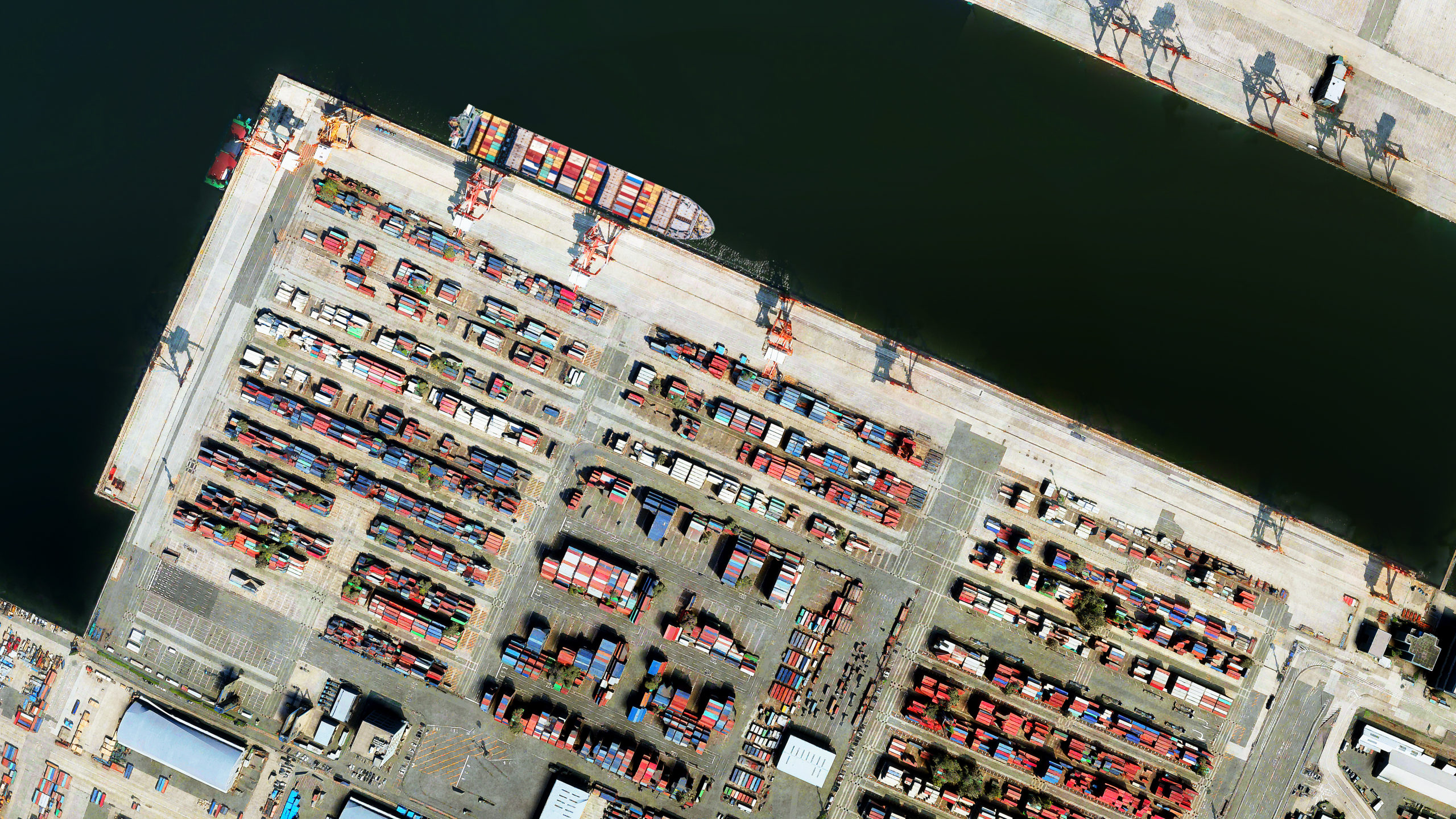 3D drone satellite aerial view of the Port of Yokohama