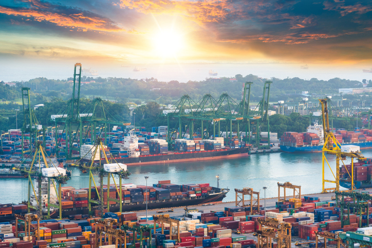 The Port of Singapore is the busiest transshipment port in the world