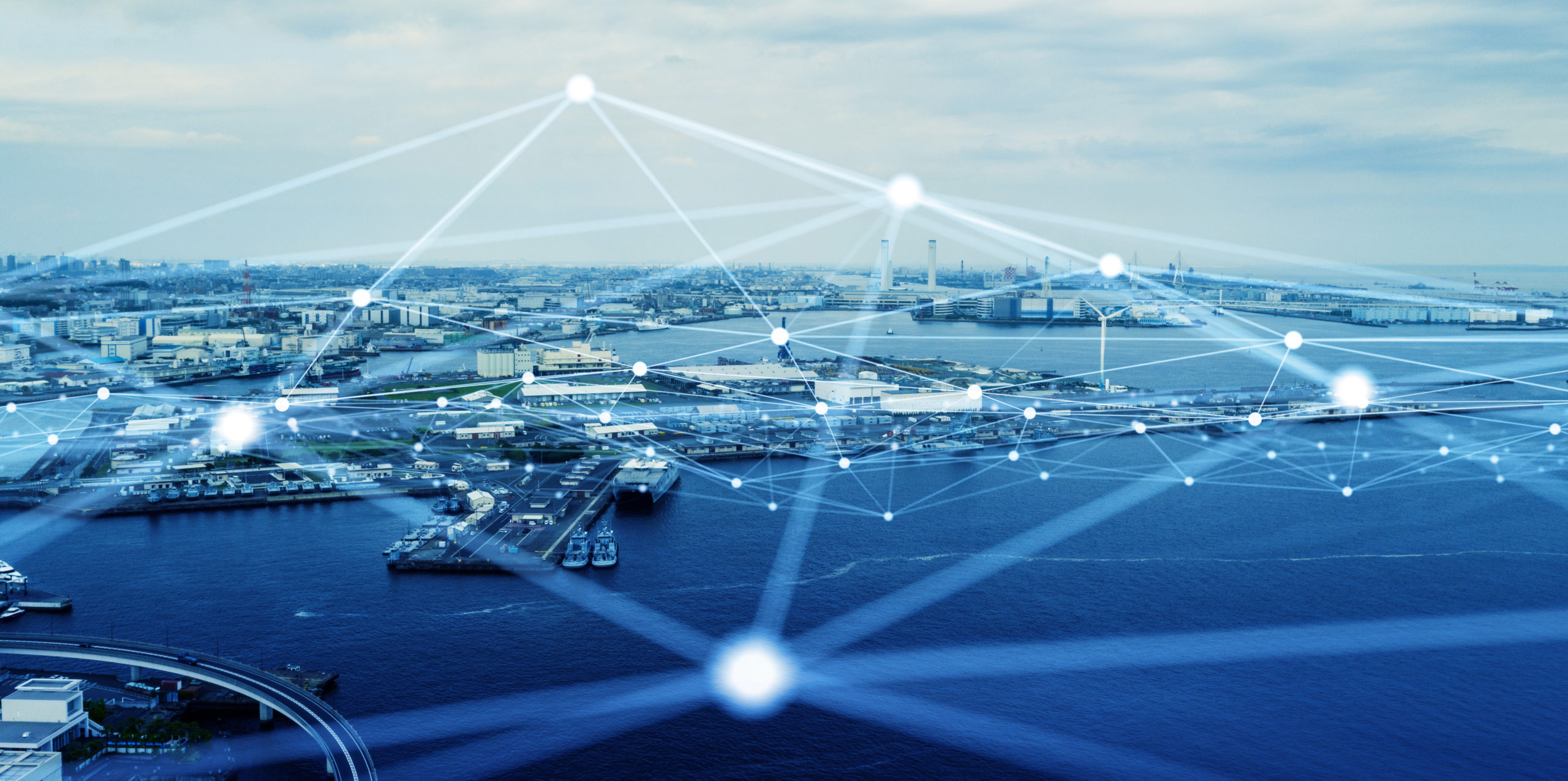 Modern port and ships aerial view and communication network concept. Ship radio. 5G. IoT.