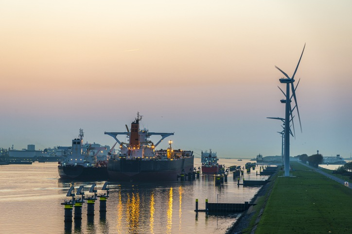 High angle view of the entrance to the Rotterdam harbour, the Netherlands at dusk