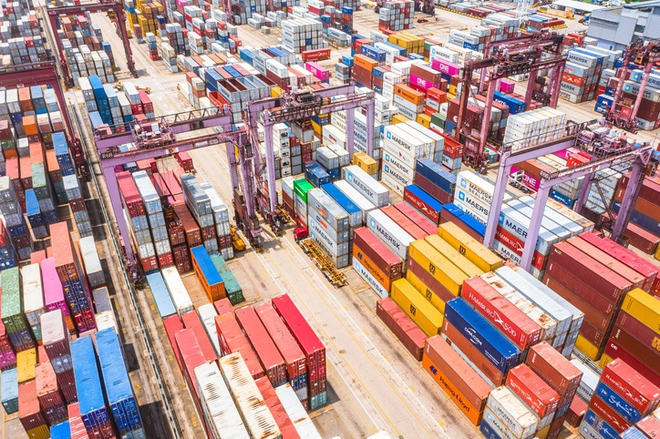 Kwai Tsing Container Terminals from drone view