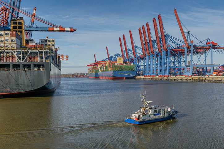 The Seaport on the river Elbe in Hamburg.