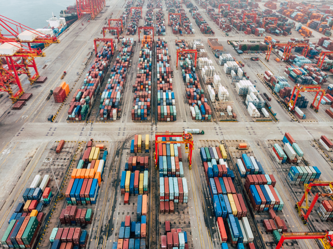Aerial Top View of Container Ship Loading in a Port