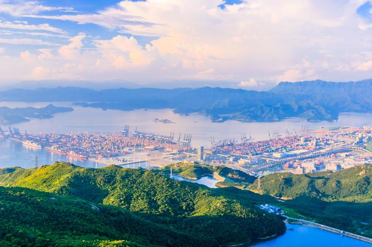 Morning sunlight in a busy Yantian Port