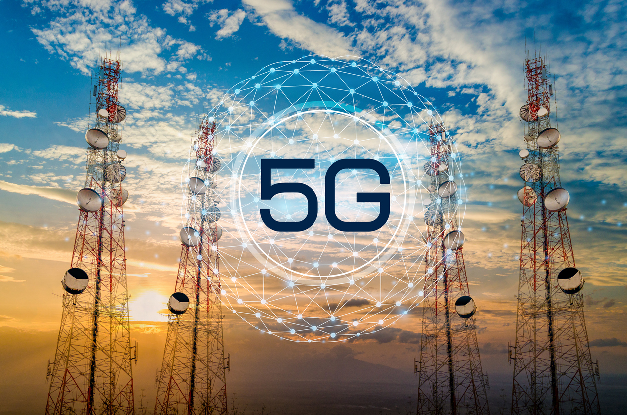 5G Telecommunication tower antenna in morning sky Evening sky